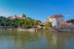 View of Passau, Germany. View of the fortresses Veste Oberhaus and Unterhaus. Passau, Bavaria, Germany royalty free stock image