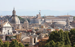 View from the Passeggiata di Gianicolo at Rome in Italy. View from the Passeggiata di Gianicolo in the Italian capital Rome at the facade of  the 16th century Royalty Free Stock Photo