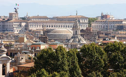 View from the Passeggiata di Gianicolo at Rome, Italy. View from the Passeggiata di Gianicolo in the Italian capital Rome at the 17th century Sant'Ivo alla Stock Photos