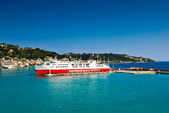 View of passenger ferry boat in open waters Royalty Free Stock Photography