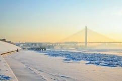 The view of the passenger port and Bolshoy Obukhovsky bridge. Saint Petersburg, Russia, January 07, 2016. The view of the passenger port and Bolshoy Obukhovsky stock images