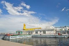 View of the passenger river terminal with the Lieutenant Schmidt Royalty Free Stock Photography