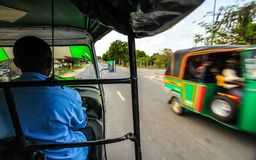 View from passenger seat when riding tuk tuk stock photography