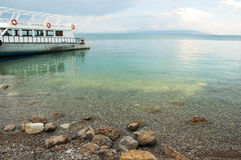 View of the passenger ship from the island of Akdamar Stock Photography