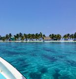 The view from a passenger travelling on a small boat to the the small tropical laughing bird caye off the coast of Belize. royalty free stock photos