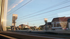 View of passing landscape. From a train window stock video