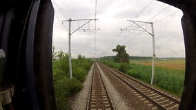 View of passing landscape from a train window. View of passing landscape from train window stock footage