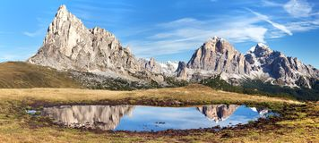 View from passo Giau, mountain lake, Dolomites mountains Stock Images