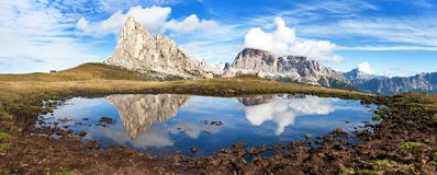 View from passo Giau, mountain lake, Dolomites mountains Stock Photography
