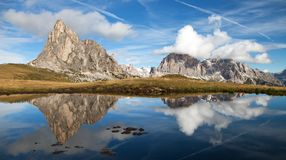 View from passo Giau, mountain lake, Dolomites mountains Stock Photo