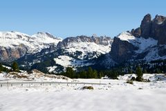 View from Passo Sella. Dolomites in South Tyrol, Italy. Royalty Free Stock Photo