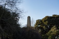 View of the obelisk of Wellington monument in Phoenix Park, Dublin, Ireland. View past trees of the top of the obelisk on the famous Wellington Monument memorial stock photo