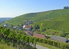 Durbach vineyards. View past the vineyards towards the town of Durbach, Ortenau region in Baden Germany Stock Photography