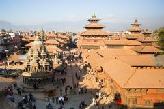 View of the Patan Durbar Square, in Kathmandu, Nepal. Stock Photo
