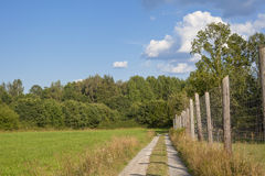 View of a path with a fence in the green countryside in Sweden Stock Photo