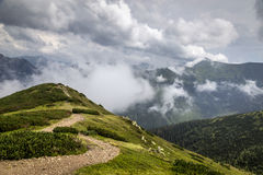 View from path from mountain Grześ Royalty Free Stock Photography