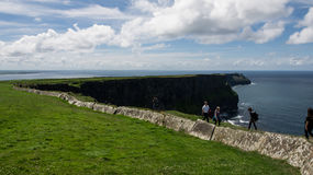 View on the path on the top of the Cliffs of Moher Royalty Free Stock Photography