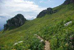 View on path and valley, Russian Federation, Caucasus,. July 2012 Royalty Free Stock Image