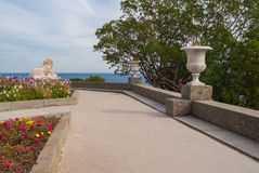 View from path in the Vorontsovsky Park to Black Sea Stock Photography