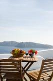 View patio of volcanic islands santorini Royalty Free Stock Photo
