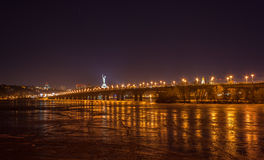 View of Paton bridge from the Left bank of Dnieper. Kiev, Ukrain Royalty Free Stock Photos
