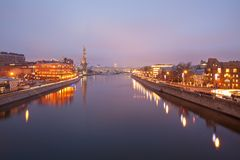 View from the Patriarchal bridge on the panorama of Moscow Royalty Free Stock Photography
