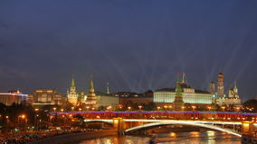 View from the Patriarshiy bridge. Spotlights over the Moscow Kremlin. stock video footage