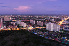 View from pattaya park tower can see pattaya city at dusk. View from pattaya park tower can see pattaya city Stock Photo