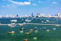 View of Pattaya pier and city Stock Photos