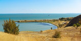 View Paul Bay, in the Kerch Strait and built in 1865 on the artificial basis of the marine battery No. 1 Stock Photography