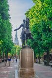 View of Paul Revere Statue in front of Old North Church in North End. Boston, USA - May 28, 2016: View of Paul Revere Statue in front of Old North Church in royalty free stock photo