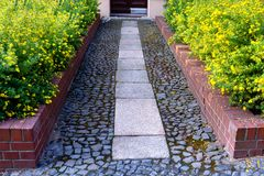 View of the paved path to the house with flower beds of cinquefoil stock image