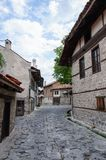 View of paved walkway with bulgarian architecture Royalty Free Stock Photo