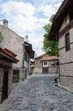 View of paved walkway with Bulgarian architecture Royalty Free Stock Photography