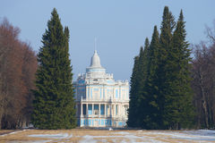 View of the pavilion Sliding Hill, march day. Oranienbaum Park, Russia Stock Photography