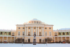 View with Pavlovsky Palace and Monument to Pavel First on Januar Royalty Free Stock Images