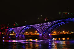 View of the Peace Bridge at night. A View of the Peace Bridge at night Royalty Free Stock Photo