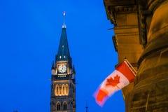 Peace Tower and Centennial Flame Ottawa, Canada. View of Peace Tower and Centennial Flame at Parliament complex Ottawa, Canada Stock Photography
