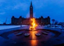 Peace Tower and Centennial Flame Ottawa, Canada. View of Peace Tower and Centennial Flame at Parliament complex Ottawa, Canada Stock Image