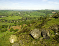 View of Peak district from Curbar edge Royalty Free Stock Photos