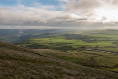 A view of the Peak District from Mam Tor in the UK royalty free stock photo