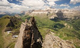 View from a peak in the Dolomites Royalty Free Stock Photo