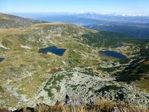 View from the peak of Haramiata on the Seven Rila Lakes in Rila Mountains stock images