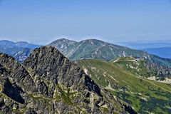 View of the peak Koscielec and Kasprowy in the Polish Tatras. Royalty Free Stock Photo