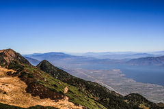 View from peak on lake in China Stock Image