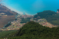 The view from the peak load of Akyaka town stock photography
