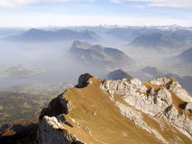 View from a peak of Mount Pilatus Royalty Free Stock Photo