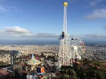 A view from the peak of Mount Tibidabo in Spain royalty free stock images