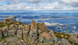 The view from the peak of Mt. Wellington Hobart. Gorgeous panoramic view of Hobart on Tasmania from the top of rocky and rough Mount Wellington peak during the Royalty Free Stock Photography