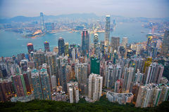 View from the peak over Victoria to Kowloon Stock Photography
